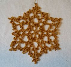 Crocheted Snowflake Ornament by tabachin on Etsy, $5.50