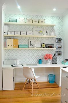 Open white shelves, patterned background, clean and fresh
