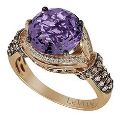 LeVian 14CT Strawberry Gold 0.50CT Diamond & Amethyst Ring - Product number 8542341 @ Earnest Jones ~Love & Life