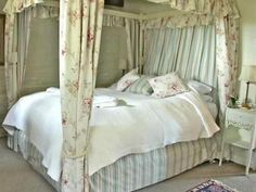 Romantic Four poster bed in Hollyhock Cottage : Treworgey Cottages http://www.cornishdreamcottages.co.uk/cottage/hollyhock