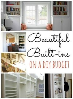 Built ins on a Budget! GREAT ideas! (Now that our central air has replaced the ugly wall unit, the hubs can have fun with the space)