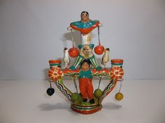 Vintage Mexican Folk Art Pottery Tree Of Life Candelabra HERON MARTINEZ Acrobat