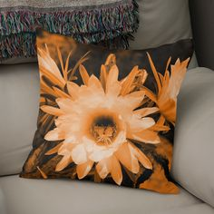 Discover «Cactus Flowers orange 1389», Numbered Edition Throw Pillow by Barbara Fraatz - From $27 - Curioos Framed Art Prints, Canvas Prints, Welcome Gifts, Soft Fabrics, Cactus, Tapestry, Throw Pillows, Orange, Artwork