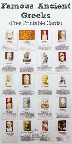 Free, Printable Ancient Greece Historical Figure Cards Ancient Greece Historical Figure Cards The post Free, Printable Ancient Greece Historical Figure Cards appeared first on Welcome! Ancient World History, European History, American History, Nasa History, British History, History Medieval, Black History, World History Facts, Native American