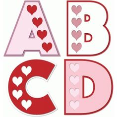 Silhouette Design Store - View Design #74211: hearts alphabet a b c d