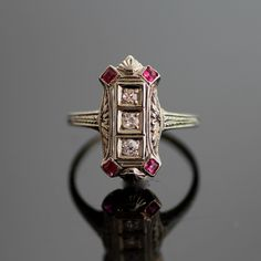 Antique Diamond and Ruby Ring by SITFineJewelry on Etsy, $1,675.00