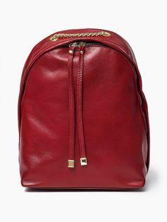362128f3f7a3d 100 % Włoska skóra - torebka plecak Czerowna Oryginalna torba damska (plecak)  włoskiej produkcji
