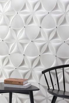 Airflake - fin måte å dele inn soner på i kontorlandskap Acoustic Wall, Acoustic Panels, Interior Architecture, Interior Design, Sound Absorbing, 3d Wall Panels, Wall Finishes, Fibres, Wall Design