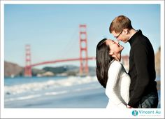 What a great Winter we've been having in the beautiful city of San Francisco. Grace and Kyle couldn't have picked a better day to have their engagement photos taken at Engagement Shots, Engagement Photography, Baker Beach San Francisco, Vision Book, Golden Gate Bridge, Wedding Portraits, Photoshoot, Couple Photos, City