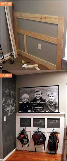 21 amazing DIY before after entryway makeovers! These dramatic transformations will inspire you to create a beautiful, functional and welcoming entryway! - A Piece Of Rainbow Entryway Furniture, Cheap Furniture, Bed Furniture, Outdoor Furniture, Backpack Wall, Chalkboard, Drawings, Shoe Rack, Flat Screen