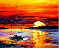 0623 Golden Gate Bridge By The Sunset - Palette Knife Oil Painting On Canvas By Leonid Afremov Print by Leonid Afremov Simple Oil Painting, Oil Painting Abstract, Diy Painting, Castle Painting, Abstract Trees, Bridge Painting, Underwater Painting, Painting Trees, Abstract City