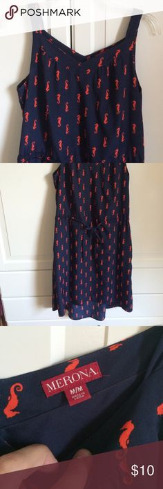 Merona seahorse dress. Size M High low hem dress. Back slightly longer than front. Navy with orange seahorses. Tie waist. Size M Merona Dresses High Low