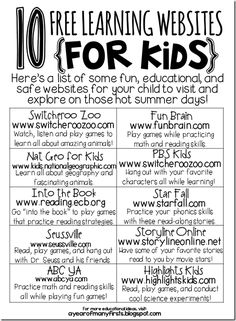 10 free learning websites for kids {summer review}