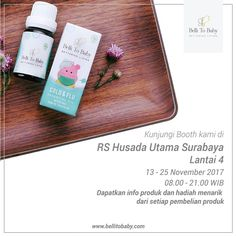 HELLO SURABAYA  Belli To Baby open booth at RS HUSADA UTAMA 4th Floor 13th - 25th November 2017 8 AM - 9 PM  Come and get a free gift with any purchase 😊  #bellitobaby #betteringliving #naturaloil #humidifier #essentialoil #healthymom #eventsurabaya