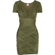Halston Heritage Ruched stretch-jersey mini dress (235 CAD) ❤ liked on Polyvore featuring dresses, green, short wrap dress, shirred dress, mini dress, green dress and gathered dress