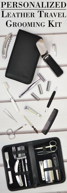 The perfect gift for your best man, groomsman or any guy on the go, this premium quality 11 piece grooming kit complete with personalized fine Nappa leather travel case makes a functional, one-of-a-kind gift he will appreciate every time he hits the road for business or pleasure. This personal grooming travel kit can be ordered at http://myweddingreceptionideas.com/personalized_leather_mens_grooming_kit.asp