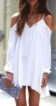 Shoulder dress. White Dress. Summer Spring. Fashion Trend. Shrot dress. Long Sleeves.