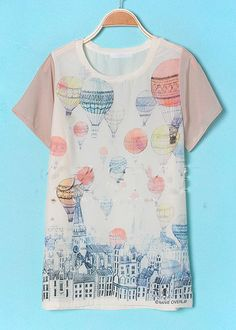 Beige Round Neck Short Sleeve Building Print T-Shirt