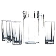 Serve homemade lemonade or sparkling sangria with this glass beverage set, featuring 4 tall glasses and 1 pitcher.  Product: 4 g...