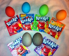 We'll be using Kool-Aid to dye our eggs this year! Look at those colors!