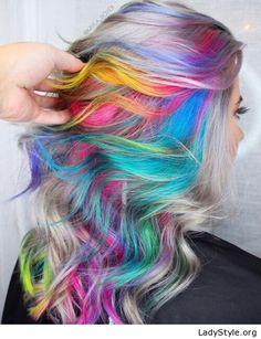 Colorful Rainbow Hair Ideas Trending in Rainbow Hair Color Ideas You'll Really Go Wild For!Rainbow Hair Color Ideas You'll Really Go Wild For! Hair Dye Colors, Cool Hair Color, Rainbow Hair Colors, Rainbow Pastel, Pastel Blue, Wild Hair Colors, Edgy Hair Colors, Unique Hair Color, Hair Colour Ideas