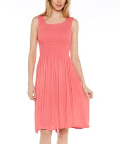 Another great find on #zulily! Coral Shirred Sleeveless Dress #zulilyfinds