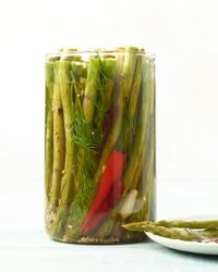 Asparagus Pickles Recipe on Food & Wine  Crunchy, vinegary and a little spicy, this pickled asparagus would make a terrific accompaniment to sandwiches as well as grilled and roasted meats.