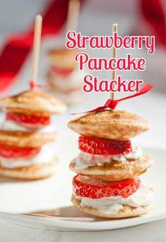 strawberry pancake stacker-like strawberry shortcakes for breakfast