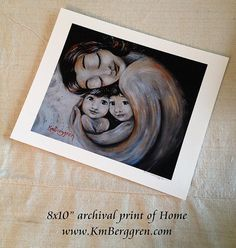 Home mother with 2 kids  with dark hair art print