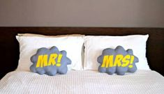 Comic Bubble Superhero Mr and Mrs Pillow Wedding by VoxandDolly Wedding Gifts For Bride And Groom, Bride Gifts, Comic Bubble, Pillow Inspiration, Trendy Wedding, Dream Wedding, Wedding Ideas, Engagement Gifts, Pillow Set