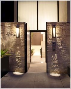 Modern Houses | Design front door view in modern house with deck and small garden in ...