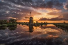 "Kinderdijk Magic - A wonderful sunset at Kinderdijk summer 2016.  Best viewed on black (click image or press ""M"")"