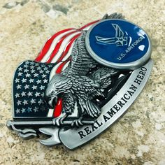 NEW HIGH QUALITY Air Force Usa Eagle BELT BUCKLE Mexican MEN COWBOY Silver Blue
