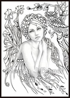Autumn's Dreamer - Fairy Tangles Coloring Sheet Fairies Owls Digi Coloring Page