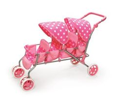 Badger Basket Inline Quad Doll Stroller, Pink Polka Dots, Fits Most Dolls & My Life As Baby Doll Furniture, Best Lightweight Stroller, Baby Doll Strollers, Baby Doll Nursery, My American Girl Doll, Baby Alive Dolls, Baby Doll Accessories, Dolls Prams, Pink Doll