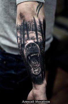 Татуировка медведь в стиле реализм. Михайлов Алексей г. Екатеринбург. #tattoo #realism #realistic #bear #forest #тату #реализм #медведь #лес https://vk.com/jonsa