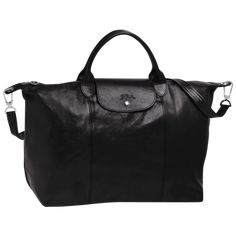 Longchamp, the French luxury house founded in this icon is Le Pliage. Polyester canvas with PVC backing, leather trim. Large Handbags, Black Handbags, Longchamp Backpack, Large Black Tote Bag, French Luxury Brands, Longchamp Black, Nylon Bag, Fashion Handbags, Leather