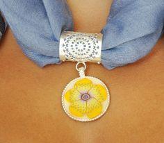 Scarf Jewelry yellow flower polymer clay on silver by NuritNaor, $48.00