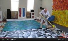 Here Eric Carle works on a large mural. I wonder what he will do with it? Could it be going to his museum? This would be a fun way to paint. Can you imagine an entire classroom wall that was an Eric Carle mural. Eric Carle, Claude Monet, S Videos, Art Lessons Elementary, Elementary Library, School Videos, Author Studies, Kindergarten Art, Art Lesson Plans