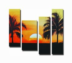 Wall Art finished in USA History: Crisp silhouettes stand ascetically against a superb sunset, creating a dynamic image that melts worries and revives the soul. Like guardians of the sun, each palms p