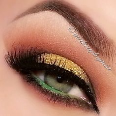 Gold and green makeup look