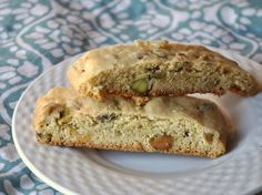 Olive Oil Pistachio Biscotti These cookies pair fruity olive oil with earthy pistachios to make a salty-sweet treat.