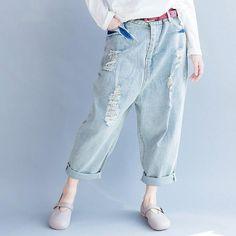 34e88814f82 Boyfriend Cut Ripped Harem Jeans. Harem JeansJeans PantsTrousersShoes ...