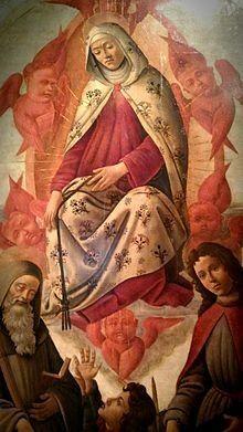 Assunzione della Vergine con i santi Benedetto, Tommaso apostolo e GiulianodiSandro Botticelli alla Galleria Nazionale di Parma.