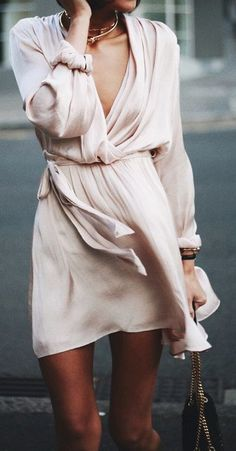blush silky wrap mini dress. pretty summer style.