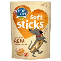 Nature's Recipe Soft Sticks Dog Treats with Real Peanut Butter are tasty snacks your dog will love. This delicious recipe is carefully crafted with real ingredients like protein-packed chicken and peanut butter. Plus, there are no artificial flavors so you can feel especially good about handing them out. The soft texture is easy for dogs to chew and allows these treat sticks to break apart into smaller bite-sized pieces.