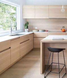 Simple Kitchen Design, Kitchen Room Design, Contemporary Kitchen Design, Kitchen Cabinet Design, Kitchen Layout, Home Decor Kitchen, Interior Design Kitchen, Home Design, New Kitchen