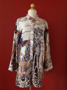 RARE! CITRON SANTA MONICA Textured Silk Koi Fish Print Asian Inspired Top Size M #CitronSantaMonica #ButtonDownShirt #Casual
