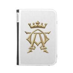 """Golden """"3-D"""" Alpha and Omega w/Crown Symbol Kindle 3 Case.  $69.95"""