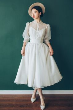 Shop Vintage Chic Tea Length Bubble Sleeves Weddding Dress with Collar S… - Wedding Dresses Chiffon Wedding Gowns, Tea Length Wedding Dress, Tea Length Dresses, Wedding Dresses, Homecoming Dresses, Tea Dresses, Bridesmaid Gowns, Lace Wedding, 80s Fashion